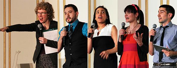 Some of the Ignite Talk speakers at last year's DML Conference, from left: Amy Storrow, Armando Somoza, Taos Glickman, Ariel Waldman and Matt Rafalow.